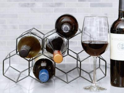 HB Design Co. Modern Black Metal Wine Rack