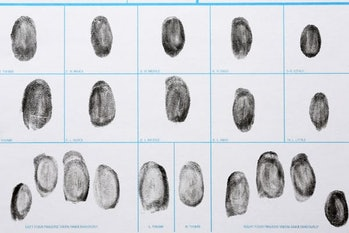 Fingerprint record sheet, top view. Criminal investigation