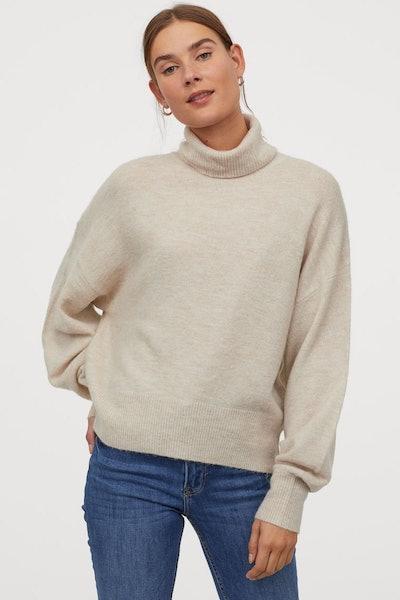 Fine-Knit Turtleneck Sweater