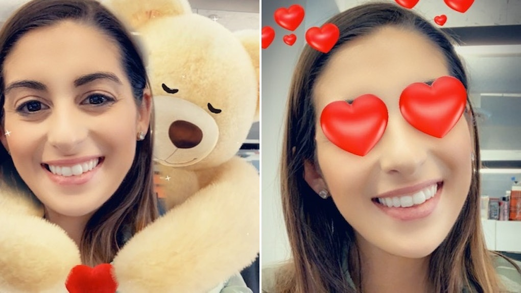 Snapchat's Valentine's Day 2020 lenses include a hugging bear and heart eyes.