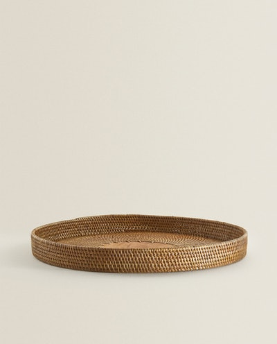 Round Rattan Tray