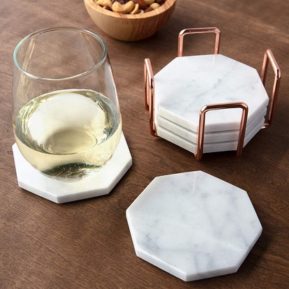 White Carrara Marble Coasters by Deco (5-Pack)