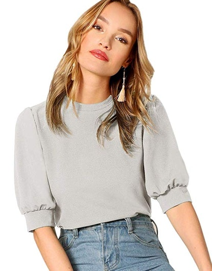 SheIn Women's Puff Sleeve Casual Blouse