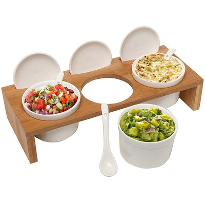 MyGift Ceramic Condiment Set with Bamboo Serving Tray