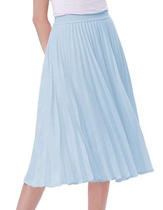 Kate Kasin High Waist Pleated A-Line Skirt