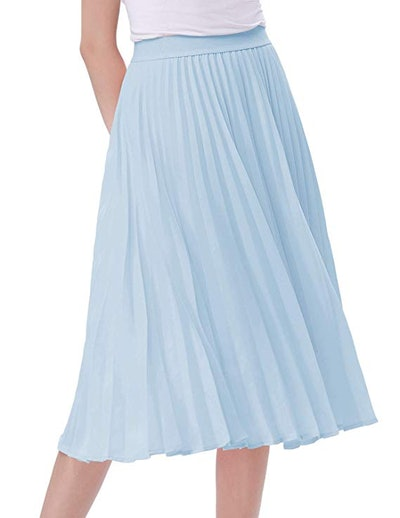 Kate Kasin High Waist Pleated A-Line Skirt