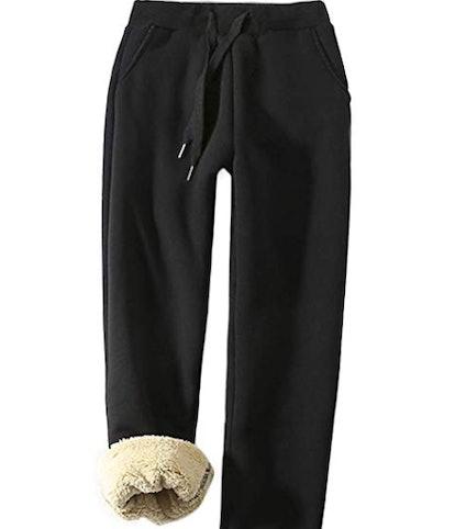 Yeokou Women's Warm Sherpa Lined Athletic Sweatpants