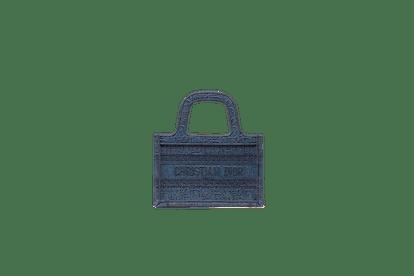 Denim Blue Mini Dior Book Tote Dior Oblique Embroidered Canvas Bag