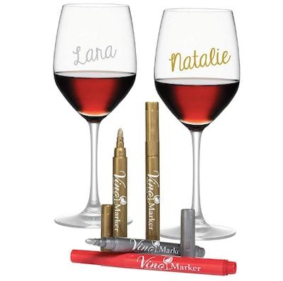 Vino Metallic Wine Glass Markers (4-Pack)