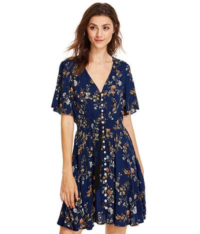 Milumia Women's Button Up Floral Dress