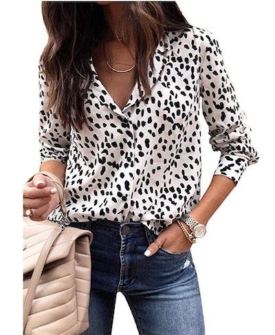 ECOWISH Women's Leopard Print Shirt