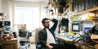 Series of photos shot in a little studio/workplace, where an Japanse artist and electrician/engineer creates electronic music with the self made electronic equipment and synthesizers.