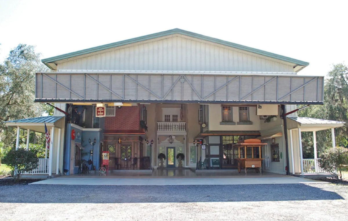 A little town is built inside of an airplane hangar and listed in Airbnb.