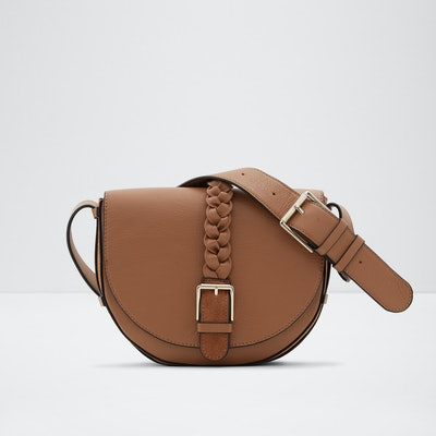 Saddle Crossbody In Cashew Suede & Leather