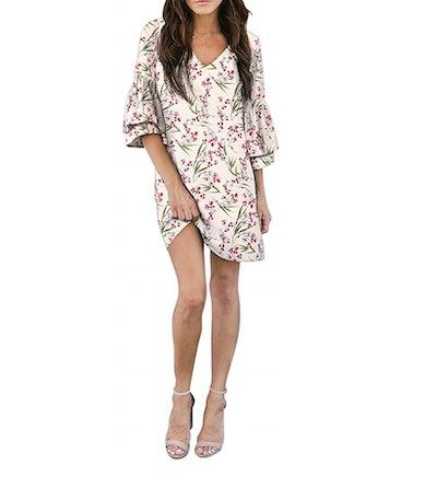 BELONGSCI Bell Sleeve Mini Dress