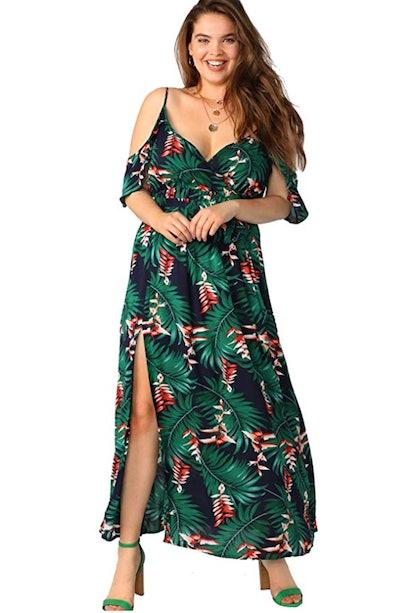 Milumia Women's Plus Size Cold Shoulder Floral Dress