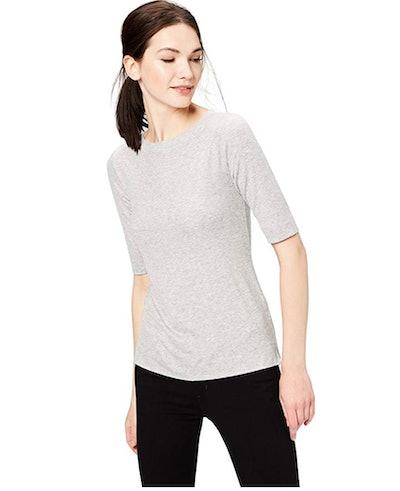 Daily Ritual Women's Elbow-Sleeve Boat Neck Shirt