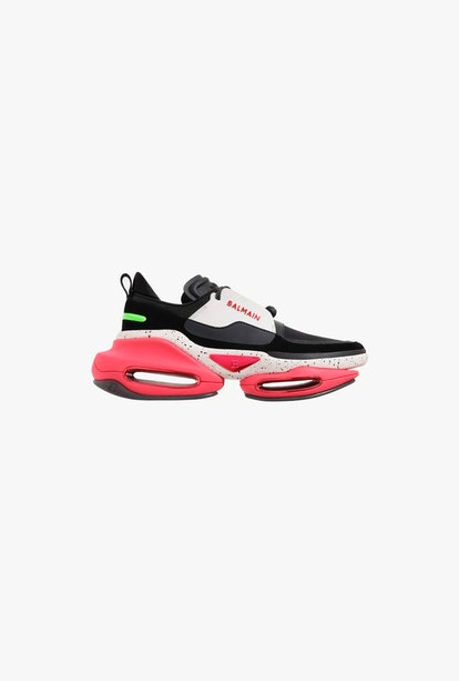 EXCLUSIVE - Black And Pink Leather And Suede BBold Low-Top Sneakers