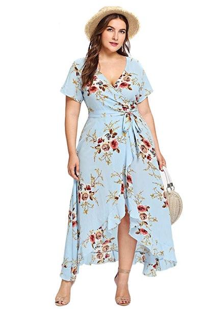 Milumia Plus Size Short Sleeves Wrap Dress
