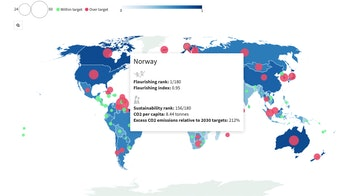 map showing Norway flourishing rank and index
