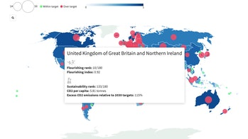 map showing UK rank for children flourishing