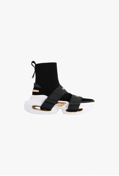 Black And White High-Top Suede And Mesh BBold Sneakers With Strap
