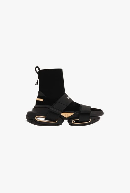 Black High-Top Suede And Mesh BBold Sneakers With Strap