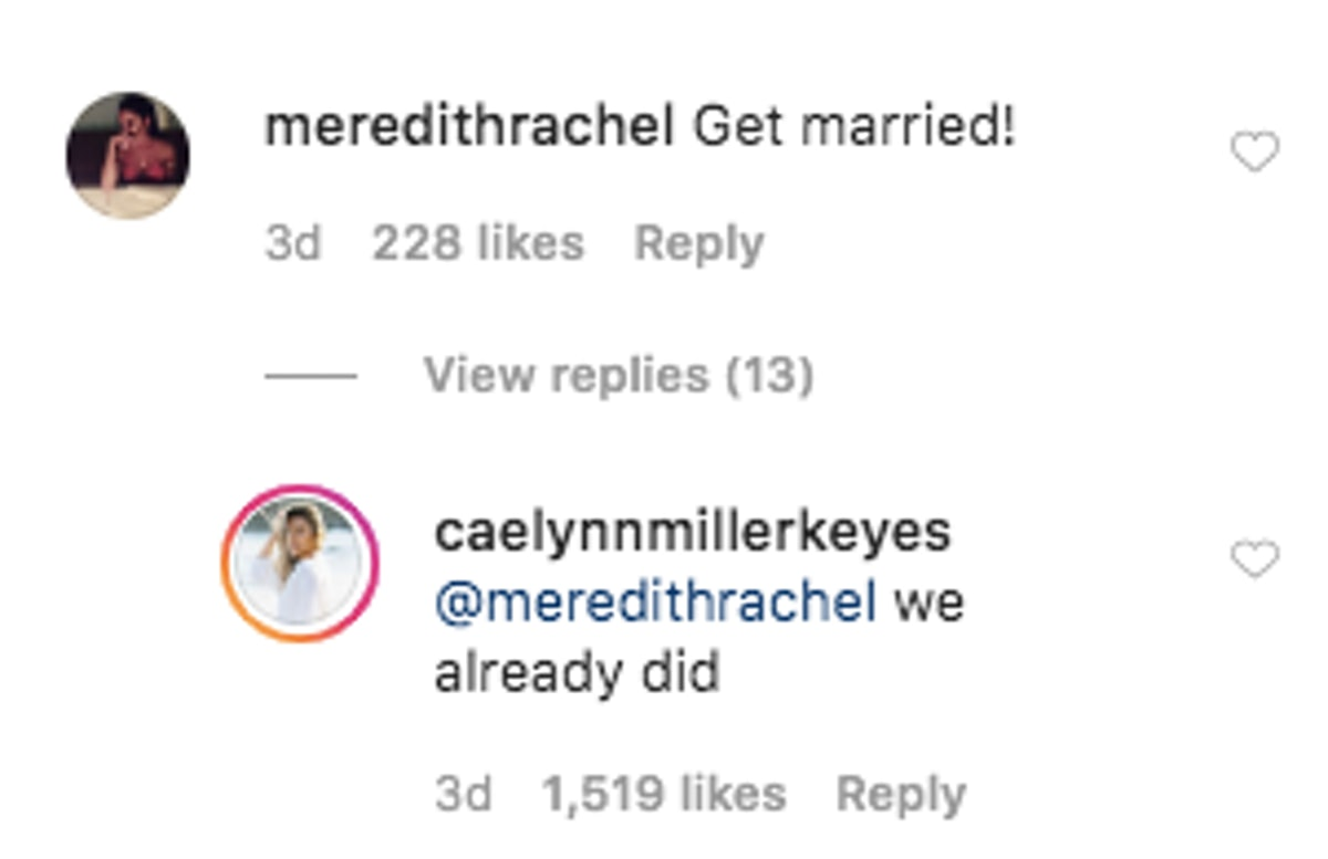 Did Caelynn Miller-Keyes and Dean Unglert get married? IG comments seem to suggest so.