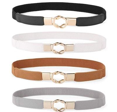 WERFORU Women Skinny Belt (Set Of 4)