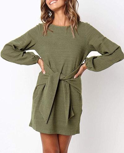 R.Vivimos Bodycon Tie Sweater Dress