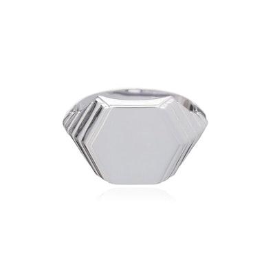 Art Deco Hexagon Signet Ring