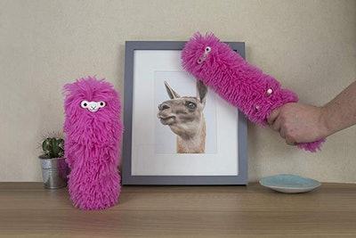 Gift Republic Fuzzy Pink Llama Duster