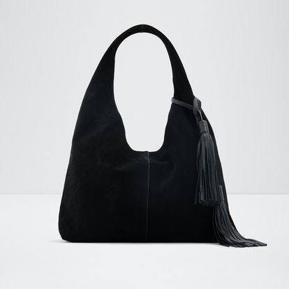 Slouchy Tassel Hobo in Black