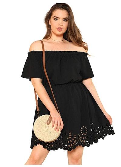 ROMWE Women's Plus Size Off The Shoulder Dress