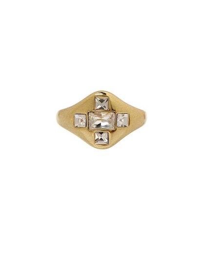 Patchwork Baguette Signet Ring