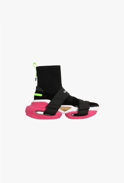 EXCLUSIVE - Black And Pink High-Top Suede And Mesh BBold Sneakers With Strap