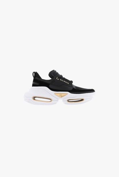 Black And White Leather And Suede BBold Low-Top Sneakers