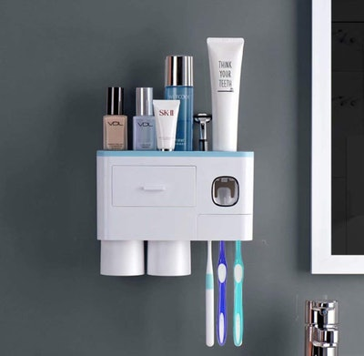 WEKITY Multifunctional Wall-Mounted Toothbrush Holder