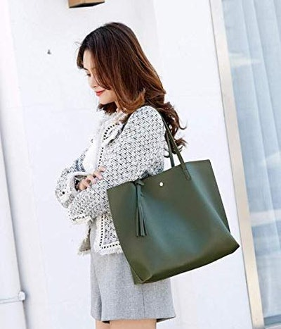 Dreubea Faux-Leather Tote Bag