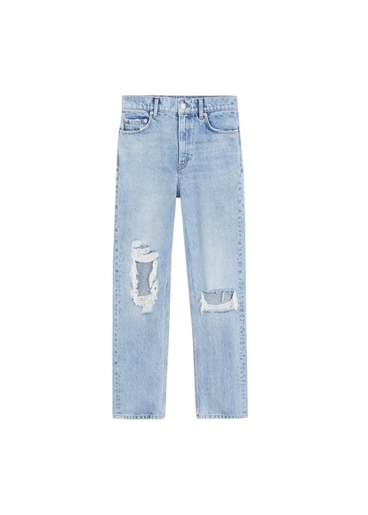 Straight-Fit Decorative Rips Jeans