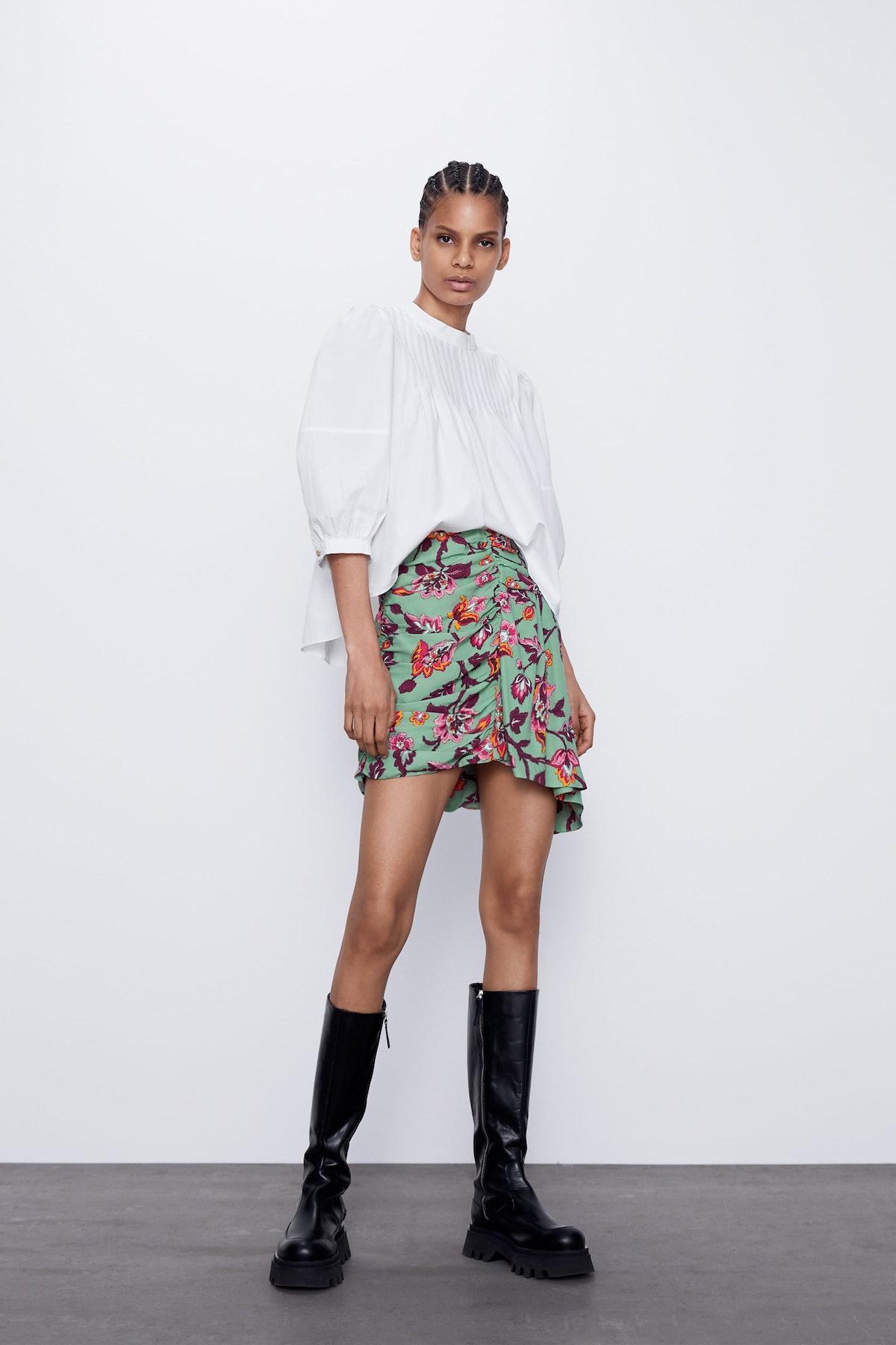 Zara  Floral Draped Mini Skirt