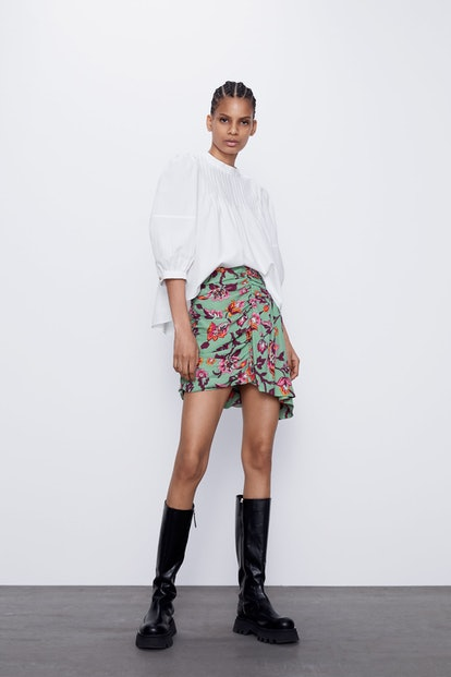 Zara  Floral Draped Mini Skirt