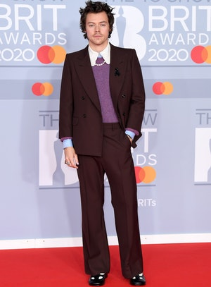 Harry Styles wore a brown Gucci suit to the 2020 Brits that was likened to Willy Wonka's look