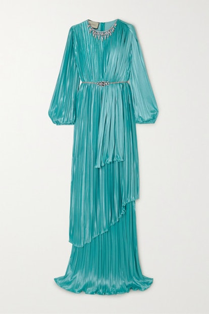 Crystal-Embellished Pleated Satin Gown