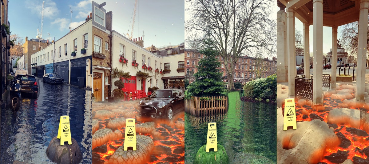 Snapchat's new ground transformation Lenses totally transform your surroundings with water or lava.