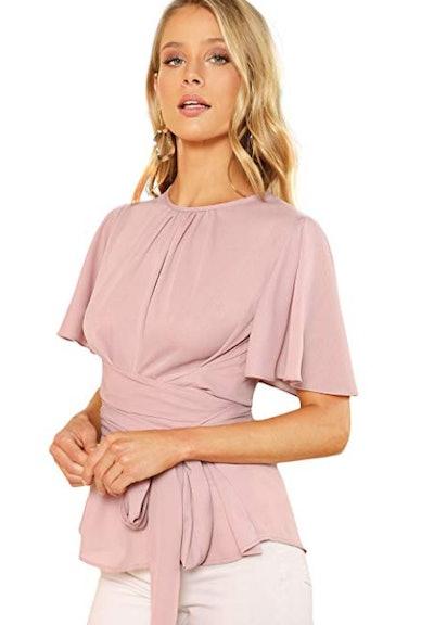 ROMWE Women's Self Tie Waist Short Sleeve Casual Chiffon Blouse Tops