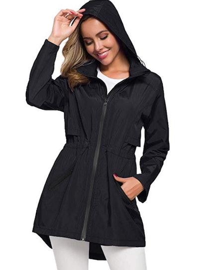 Avoogue Women's Long Raincoat with Hood Outdoor Lightweight Windbreaker Rain Jacket