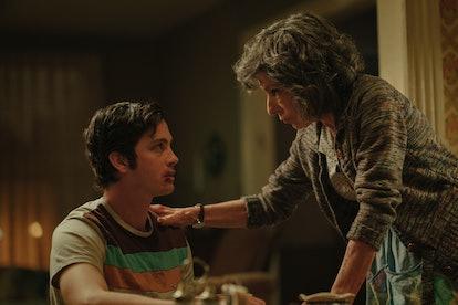 Logan Lerman as Jonah and Jeannie Berlin as Ruth Heidelbaum in Hunters