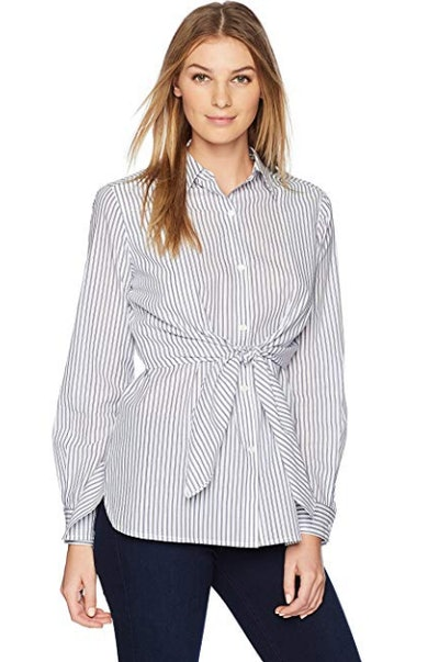 Lark & Ro Women's Woven Collared Top W/Roll Up Sleeve with Button