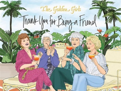 "the cover of the golden girls ""thank you for being a friend"" picture book"